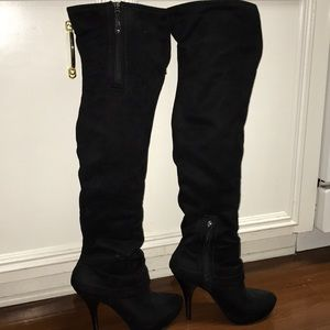 Suede Black Tall Boots